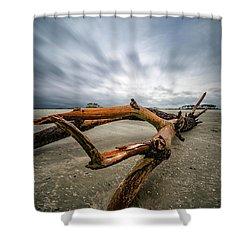 Hurricane Florence Beach Log - Portrait Shower Curtain