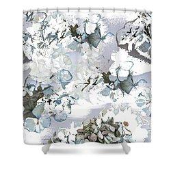 Hydrangeas In Powder Blue Shower Curtain