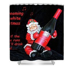 Shower Curtain featuring the photograph I'll Drink Red At Christmas by Kay Brewer