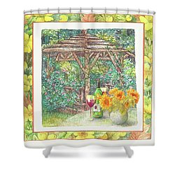 Shower Curtain featuring the painting Illustrated Sunflower Picnic by Judith Cheng