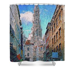 In-spired  Street Scene Brussels Shower Curtain