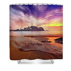 Incoming Tide At Sunset Shower Curtain