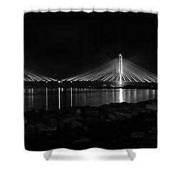 Shower Curtain featuring the photograph Indian River Bridge After Dark In Black And White by Bill Swartwout Fine Art Photography