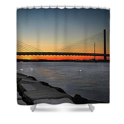Shower Curtain featuring the photograph Indian River Bridge Over Swan Lake by Bill Swartwout Fine Art Photography