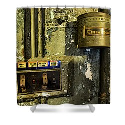 Shower Curtain featuring the photograph Inside The Projector Room by Kristia Adams