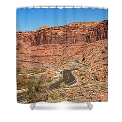 Shower Curtain featuring the photograph Into The Red Cliffs by Andy Crawford