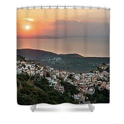 Ioulis Town Sunset, Kea Shower Curtain