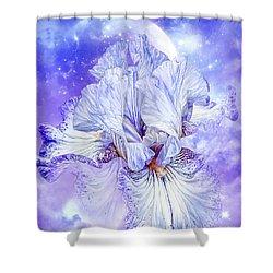 Shower Curtain featuring the mixed media Iris - Goddess Of Dreams by Carol Cavalaris