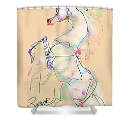 Ivory Horse Rising Shower Curtain