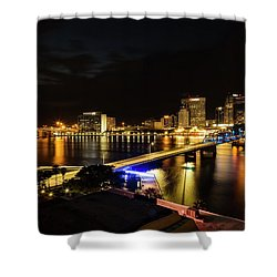 Jacksonville Skyline By Night Shower Curtain