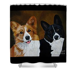 James And Joy Custom Portrait Painting Shower Curtain