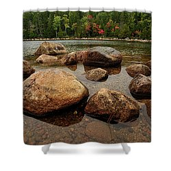 Jordon Pond Boulders Shower Curtain