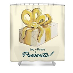 Shower Curtain featuring the painting Joy, Peace And Presents by Maria Langgle