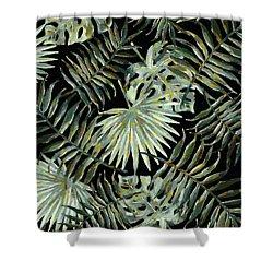 Jungle Dark Tropical Leaves Shower Curtain