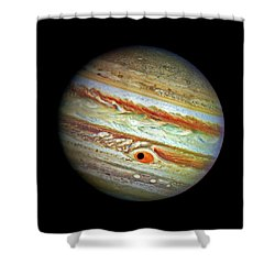 Shower Curtain featuring the photograph Jupiter And Ganymead Shadow Outer Space Image by Bill Swartwout Fine Art Photography