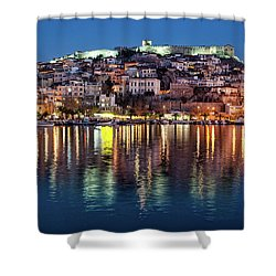 Kavala Town At Night Shower Curtain