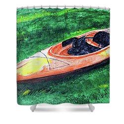 Kayak In The Grass Shower Curtain