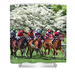 Keeneland Down The Stretch Shower Curtain