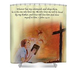 Keeps My Commandments Shower Curtain
