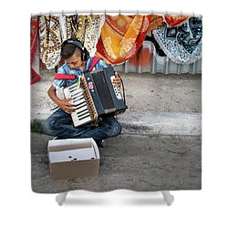 Kid Playing Accordeon Shower Curtain