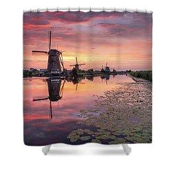 Kinderdijk Sunset Shower Curtain