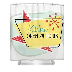 Shower Curtain featuring the digital art Kitchen Open 24 Hours- Art By Linda Woods by Linda Woods