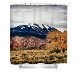 Shower Curtain featuring the photograph La Sal Mountain Range by David Morefield