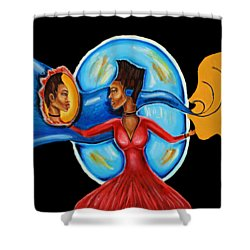 African Goddess Lady In Red Afrocentric Art Mother Earth Black Woman Art Shower Curtain