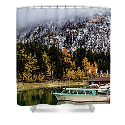 Lake Minnewanka, Banff National Park, Alberta, Canada Shower Curtain