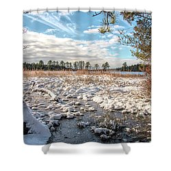 Shower Curtain featuring the photograph Lake Oswego After The Snow  by Kristia Adams