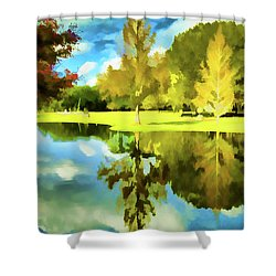 Lake Reflection - Faux Painted Shower Curtain