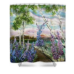 Lakeside Lupin Shower Curtain
