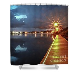 Lamp Post Starbursts Shower Curtain