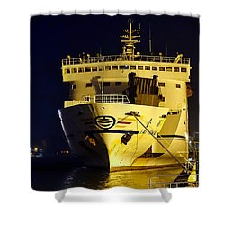 Large Ferry Docked In Port By Night Shower Curtain