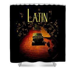 Latin Guitar Music Notes Shower Curtain