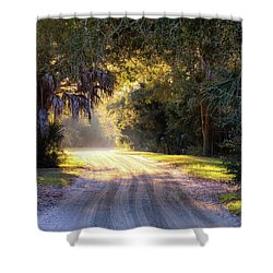 Light, Shadows And An Old Dirt Road Shower Curtain