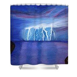 Lightning On The Sea At Night Shower Curtain