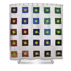Lime Squares Shower Curtain