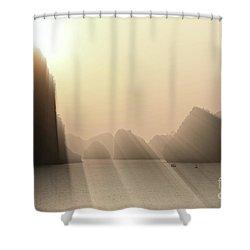 Limestone Sun Rays Ha Long Bay Vietnam Shower Curtain