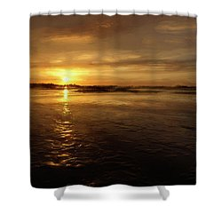 Shower Curtain featuring the photograph Lingering Sunset by John M Bailey