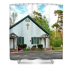 Shower Curtain featuring the photograph Little Church In The Pines by Kristia Adams