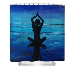 Shower Curtain featuring the painting Lotus  by Jennah Lenae