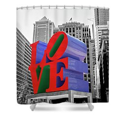 Shower Curtain featuring the photograph Love In The City - Philadelphia In Black And White With Selective Color by Bill Cannon