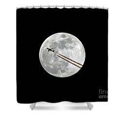 Lunar Photobomb Shower Curtain