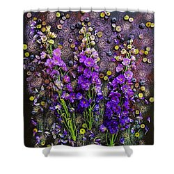 Lupine And Blueberries  Shower Curtain