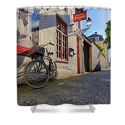 Shower Curtain featuring the photograph Lux Cobblestone Road Brugge Belgium by Nathan Bush