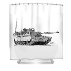 M1a1 C Company Xo Tank Shower Curtain