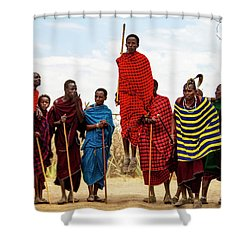 Shower Curtain featuring the photograph Maasai Jumping Dance by Kay Brewer
