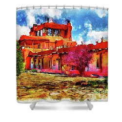 Mabel's Courtyard In Aquarelle Shower Curtain