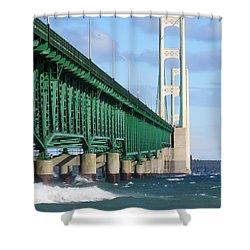 Mackinac Bridge And Waves Shower Curtain
